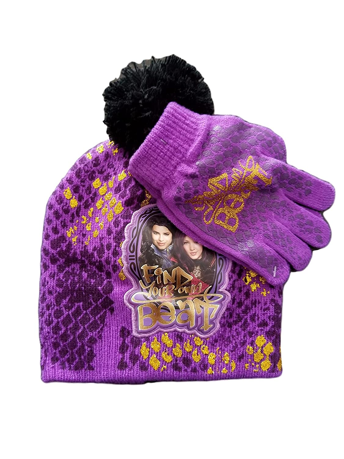 pretty nice 9bb49 8c897 ... coupon code amazon disney descendants beanie knit hat glove set  clothing 69d41 bd425