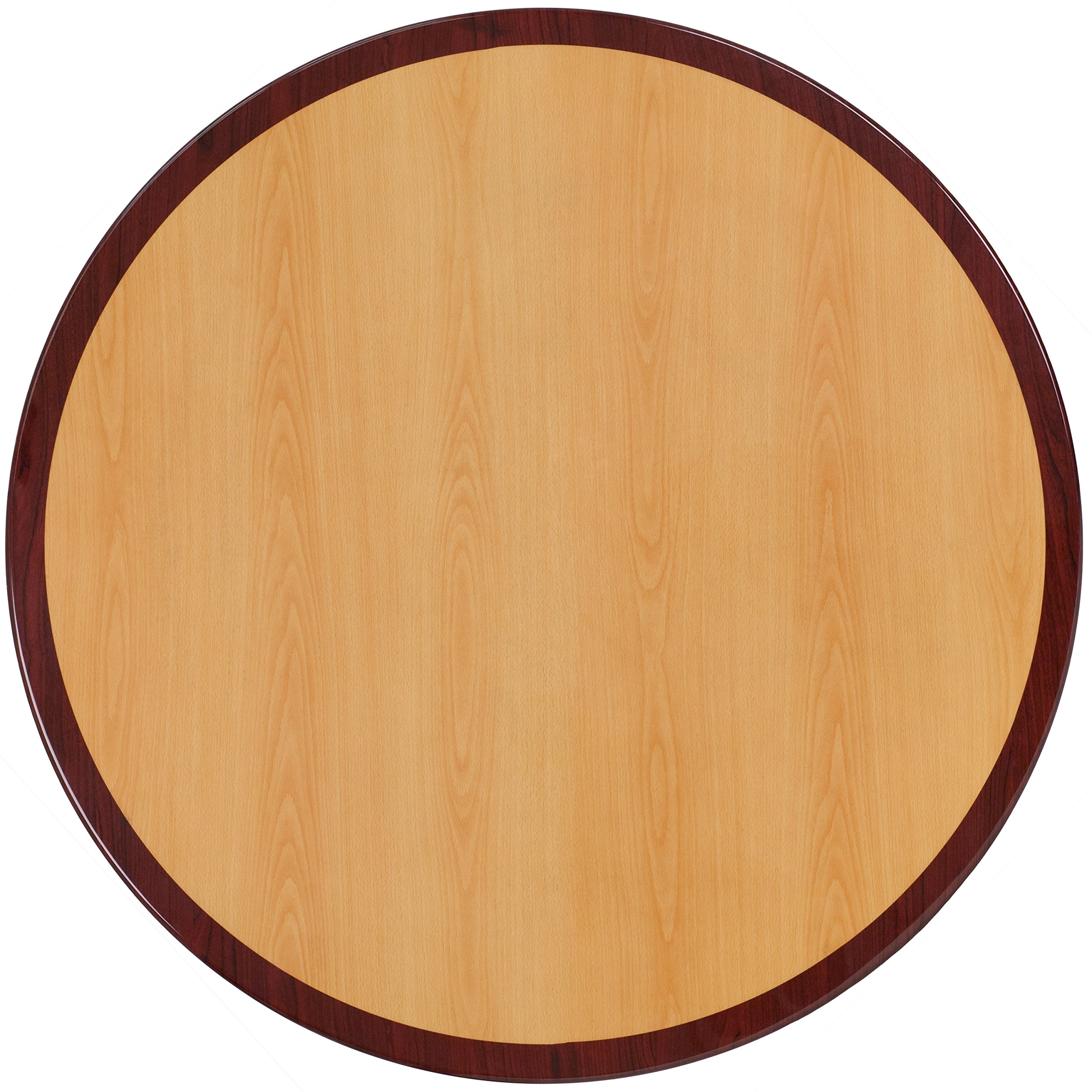 Flash Furniture 30'' Round 2-Tone High-Gloss Cherry/Mahogany Resin Table Top with 2'' Thick Drop-Lip