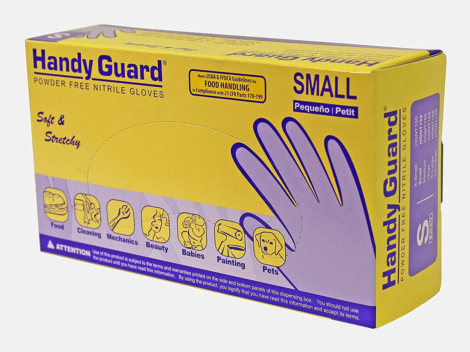 Adenna Handy Guard 3.5 mil Nitrile Powder Free Gloves (Violet, Small) Box of 100