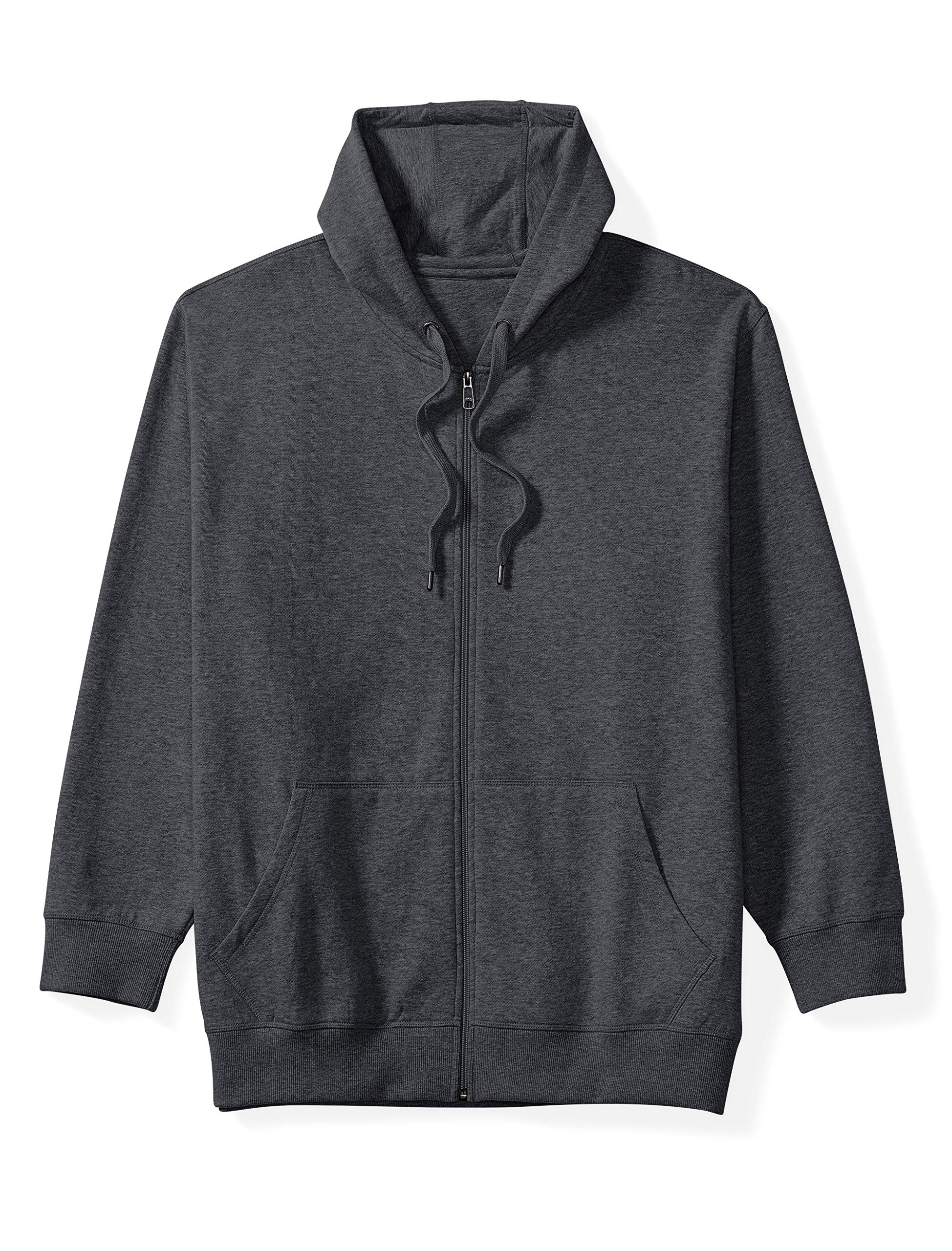Amazon Essentials Men's Big and Tall Full-Zip Hooded Fleece Sweatshirt fit by DXL, Charcoal Heather, 2XLT by Amazon Essentials