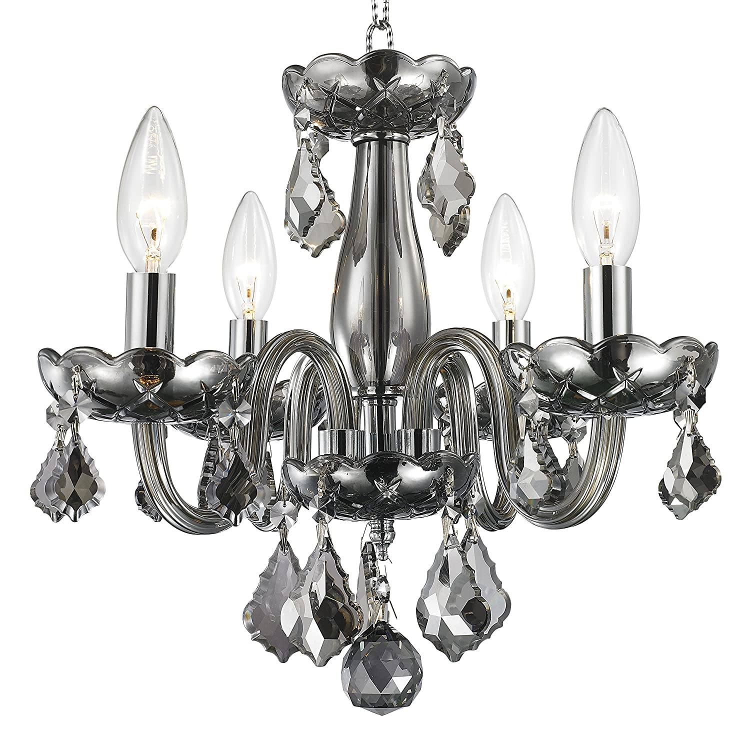 Worldwide Lighting Clarion Collection 4 Light Chrome Finish And Black Crystal Chandelier 16 D X 12 H Mini Com