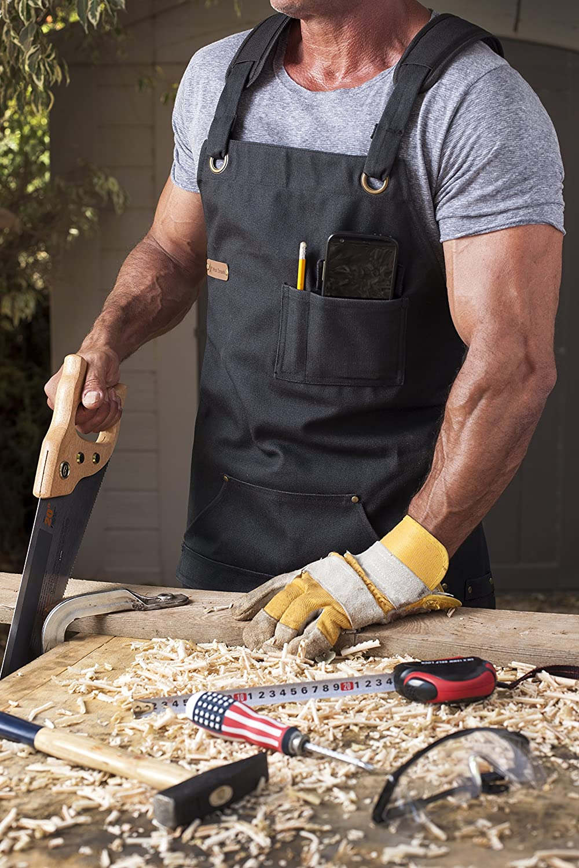 Quick Release Buckle Tool Pockets Adjustable M to XXL ARAWAK BRAVE Denim Apron for Chef Kitchen BBQ Grill Black Towel Loop