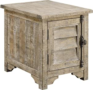 Emerald Home Furnishings Interlude Sandstone Gray End Table with Two Shelves, Plank Style Top, and Louvered Door with Vintage Hardware Grey/Standard//Rectangle/Casual/Rectangle