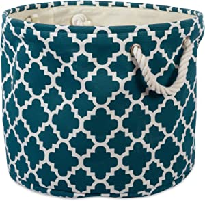 DII CAMZ37882Printed Polyester, Storage Bin  -Large Round, Teal Lattice