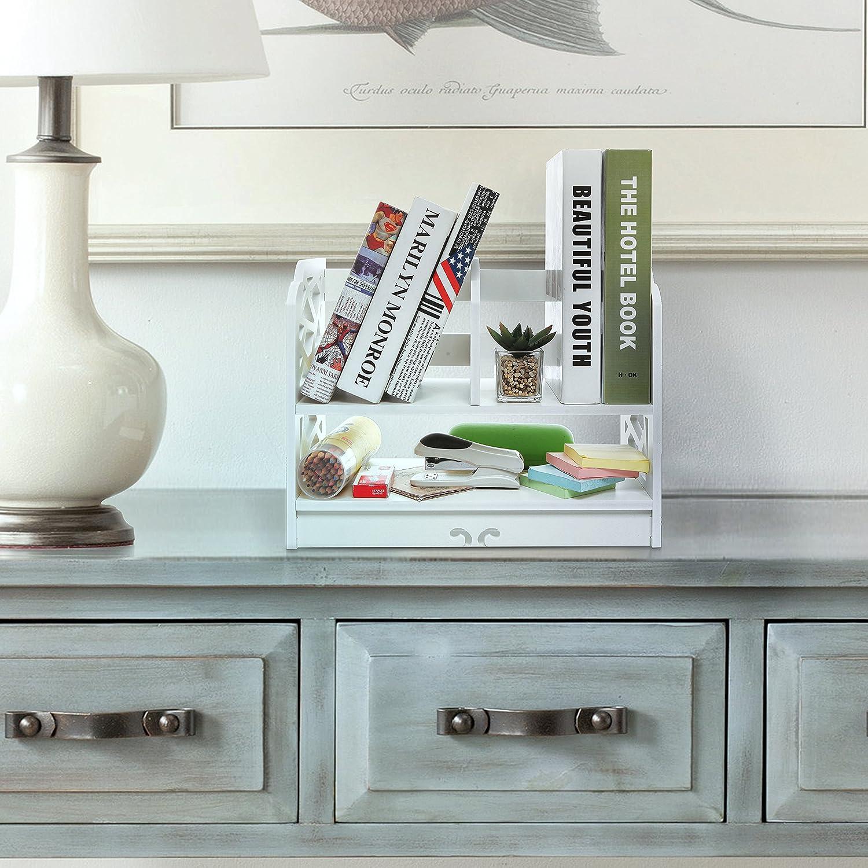 Amazon.com: White Decorative Freestanding Book Shelf / 2 Tier Stand ...