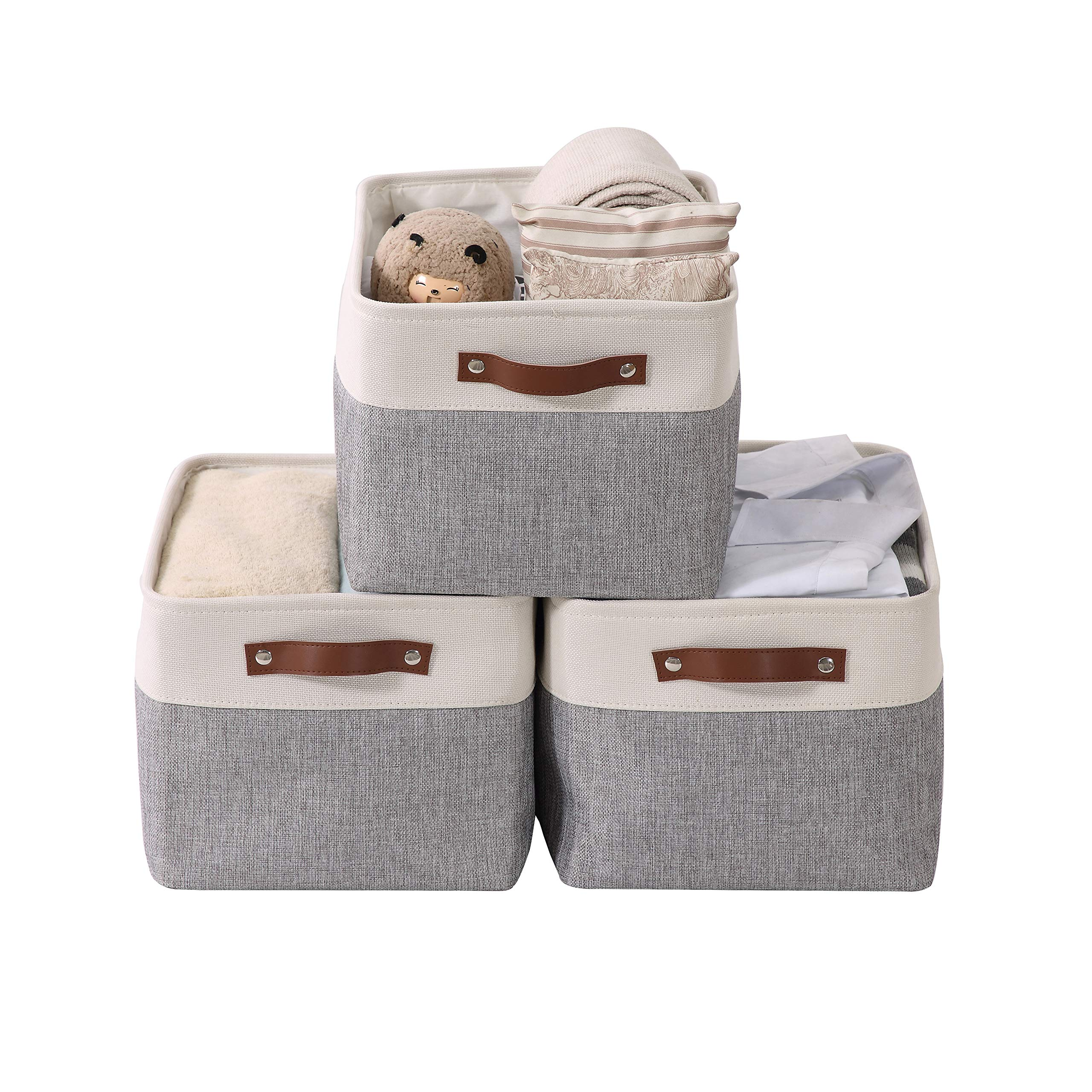 DECOMOMO Large Foldable Storage Bin [3-Pack] Collapsible Sturdy Cationic Fabric Storage Basket Cube W/Handles for Organizing Shelf Nursery Home Closet & Office - Grey & White 15 x 11 x 9.5 by DECOMOMO