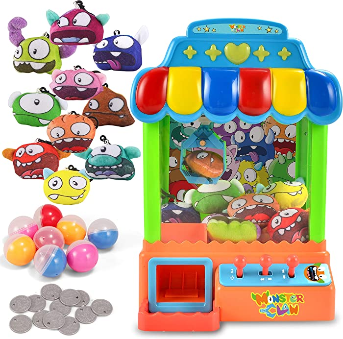 JOYIN Mini Claw Machine Game Toy Candy Grabber & Prize Dispenser Vending Machine Toy Grabber Arcade Game with 10 Plush Characters and 8 Capsules