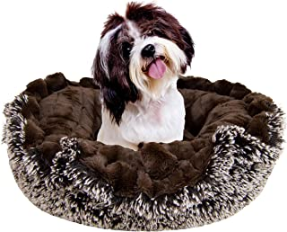 product image for BESSIE AND BARNIE Ultra Plush Frosted Willow/Godiva Brown Deluxe Luxury Shag Dog/Pet Lily Pod Bed Machine Washable