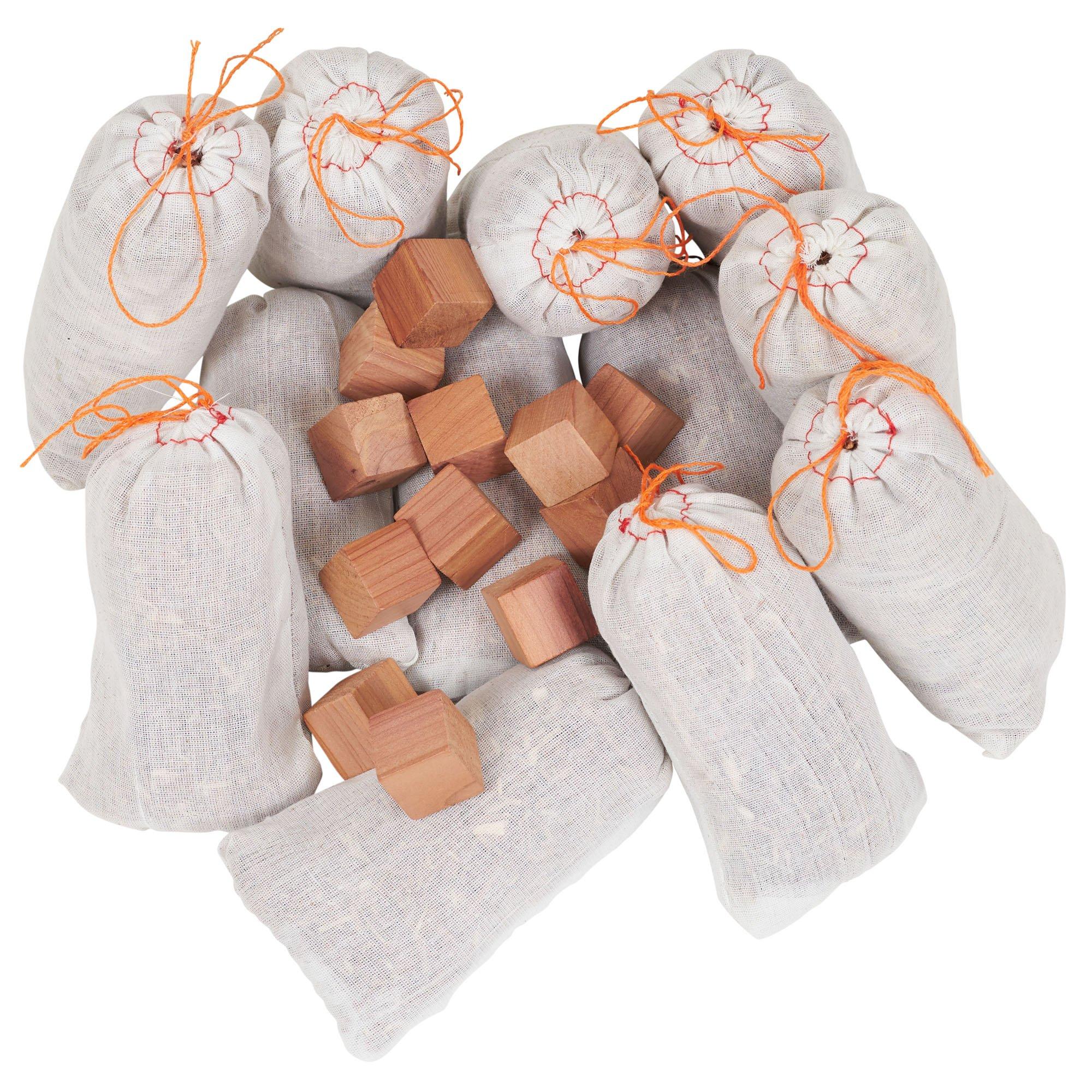 Household Essentials 35779-1 Cedar Wood Value Sachet Set, 12 Cedar Blocks and 12 Cedar Sachets, White