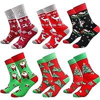 Deals on 6-Pairs Bircen Mens Christmas Funny Crew Socks