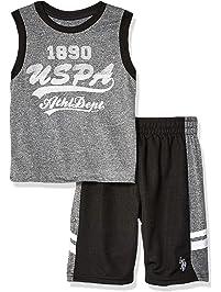 07e1f1ed U.S. Polo Assn. Boys' 2 Piece Athletic Tank and Mesh Short Set