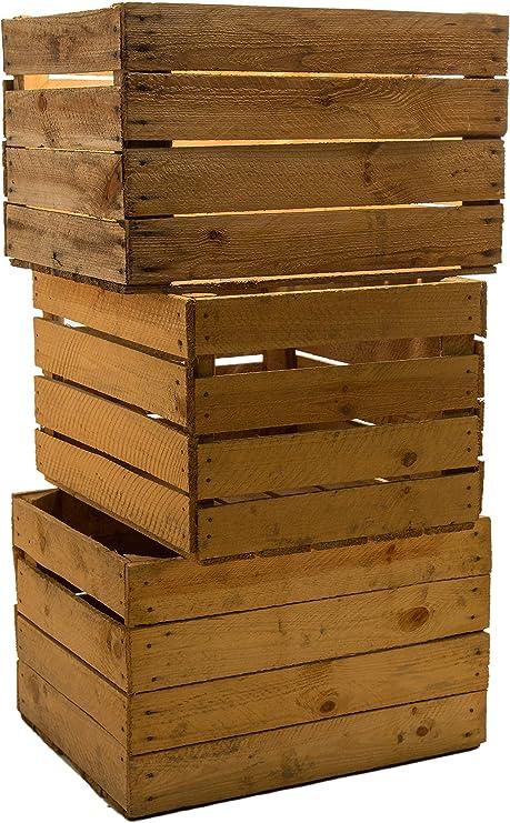 3 pieza Massive Vino Cajas de fruta manzana madera cajas Shabby ...