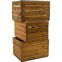 Lot de 3 cagettes massives Shabby Vintage pour les fruits, le vin, les pommes et le bois - Dimensions approximatives: 49 x 42 x 31cm.