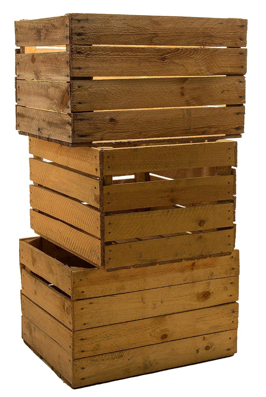 set of vintage madera las fruta de caja para vino color desgastado amazones hogar