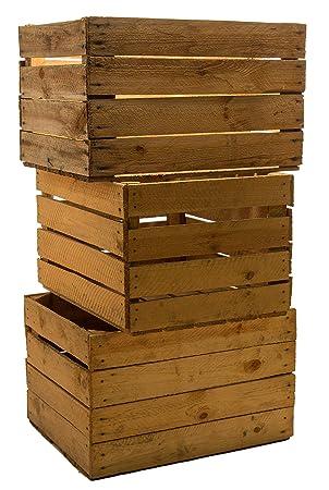 set of vintage madera las fruta de caja para vino color desgastado