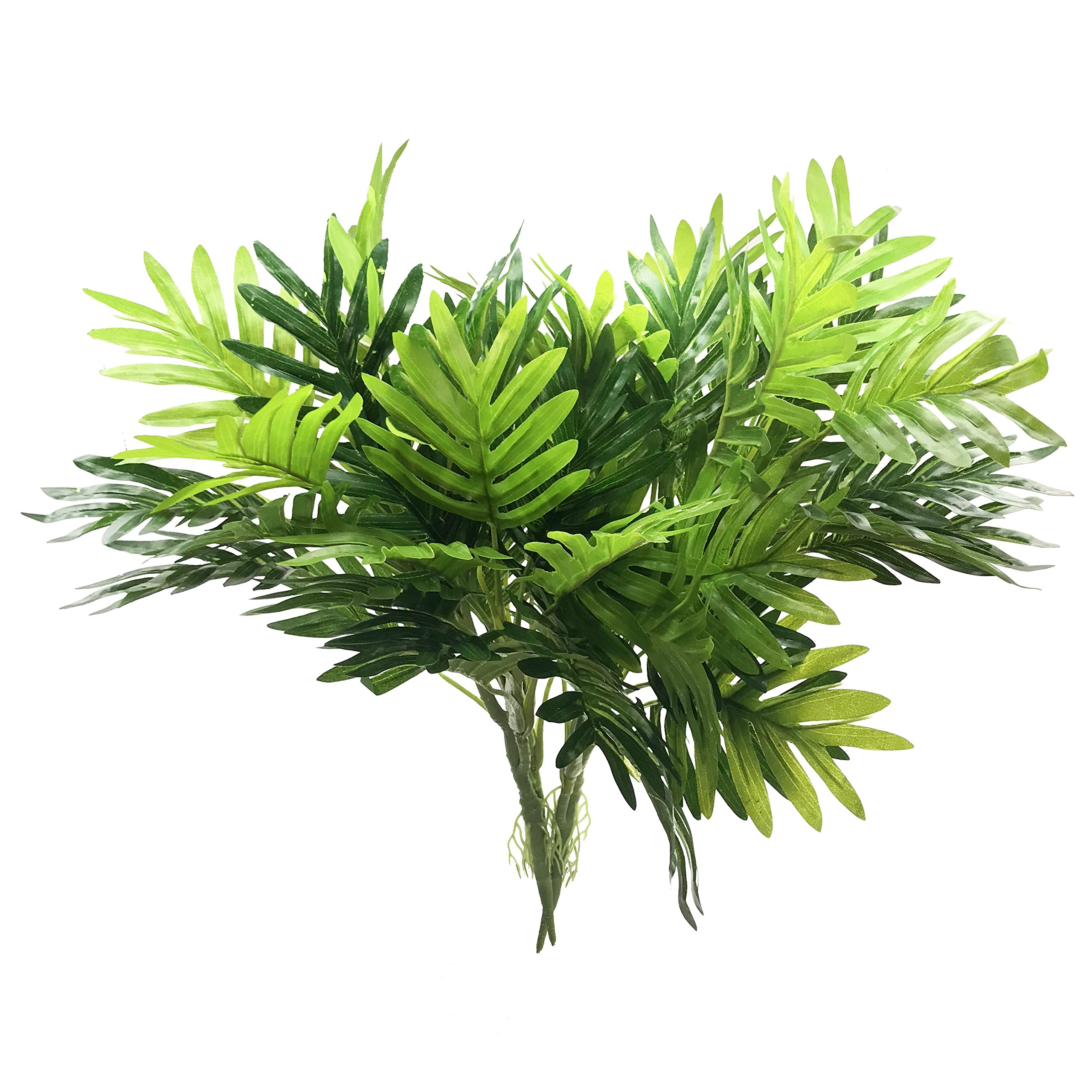 Artificial Plants Palm Tree Faux Palm Plant Leaves Greenery Tree for Fake Simulation Greenery Plants Indoor Outside Home Garden Office Home Wedding Decoration - 2 PCS