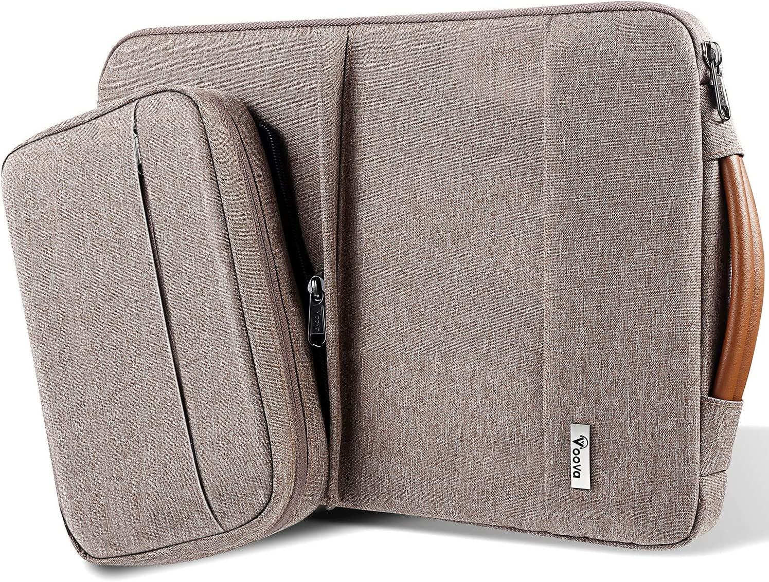 Voova 14-15.6 Inch Laptop Sleeve Carrying Case, Upgrade Smart Computer Bag with Detachable Accessory Pocket Compatible with MacBook Pro 15 16, Surface Book 2/Laptop 3 15 Chromebook, Waterproof, Khaki