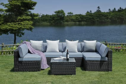 Marvelous Nv Patio Furniture Set 7 Pieces Modern Outdoor Furniture Sofas With Seat Cushions Pillows Tea Table Glass Top Lumbar Pad Blanket Fashion Couch Sets Pdpeps Interior Chair Design Pdpepsorg