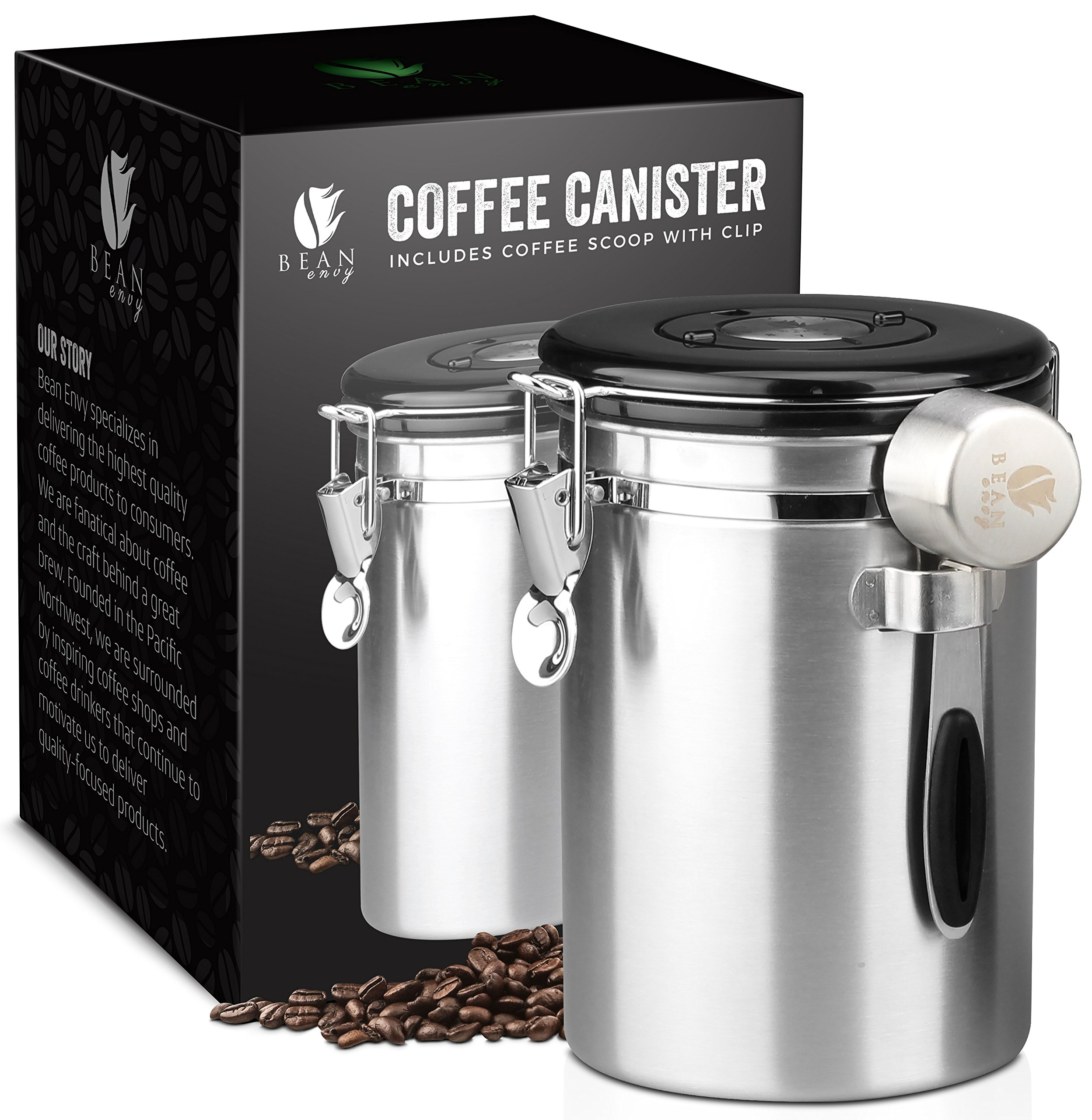 Bean Envy Airtight Coffee Canister - 16 oz - Includes Stainless Steel Coffee Scoop - Vacuum Sealed Container With Cantilever Lid - Co2 Gas Release Wicovalve & Numerical Day/Month Tracker by Bean Envy