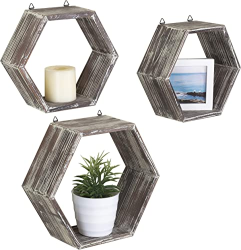 MyGift Rustic Wall-Mounted Torched Wood Shadow Boxes, Hexagon Display Shelves, Set of 3