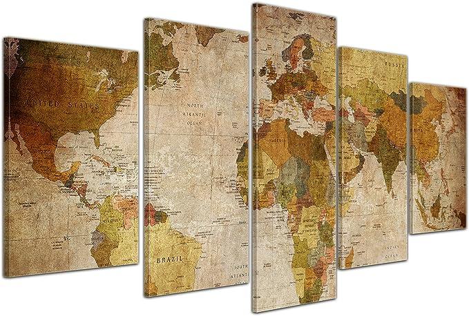 Bilderdepot24 Cuadros en Lienzo Mapa del Mundo Retro - 100x60 cm 3 Piezas - Enmarcado Listo Bastidor Imagen. Directamente Desde el Fabricante: Amazon.es: Hogar