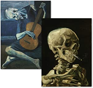 "2 Pack - Van Gogh Skeleton & The Old Guitarist by Pablo Picasso Poster Print Set - Fine Art (Laminated, 18"" x 24"")"