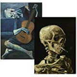 """2 Pack - Van Gogh Skeleton & The Old Guitarist by Pablo Picasso Poster Print Set - Fine Art (Laminated, 18"""" x 24"""")"""