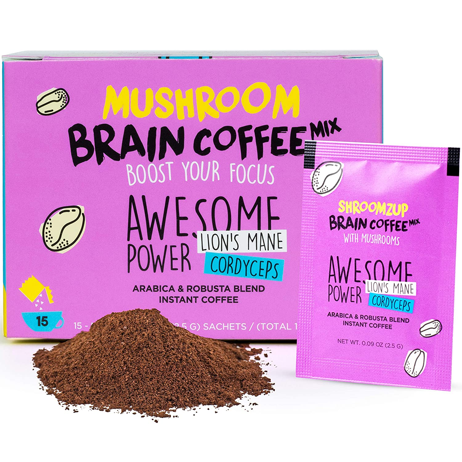 15 Pack Instant Mushroom Coffee with Lions Mane and Cordyceps Mix for Brain Memory Focus Concentration Energy Booster Shroomzup Arabica Robusta Powder Paleo Vegan Gluten Free Vitamins