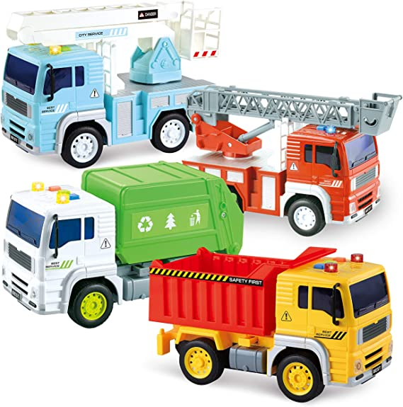 JOYIN 4 Pack Friction Powered City Vehicles Including Garbage Truck