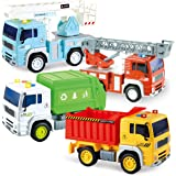 Joyin 4 Pack Friction Powered City Vehicles Including Garbage Truck, Fire Engine Truck, Boom Lift Truck and Construction…
