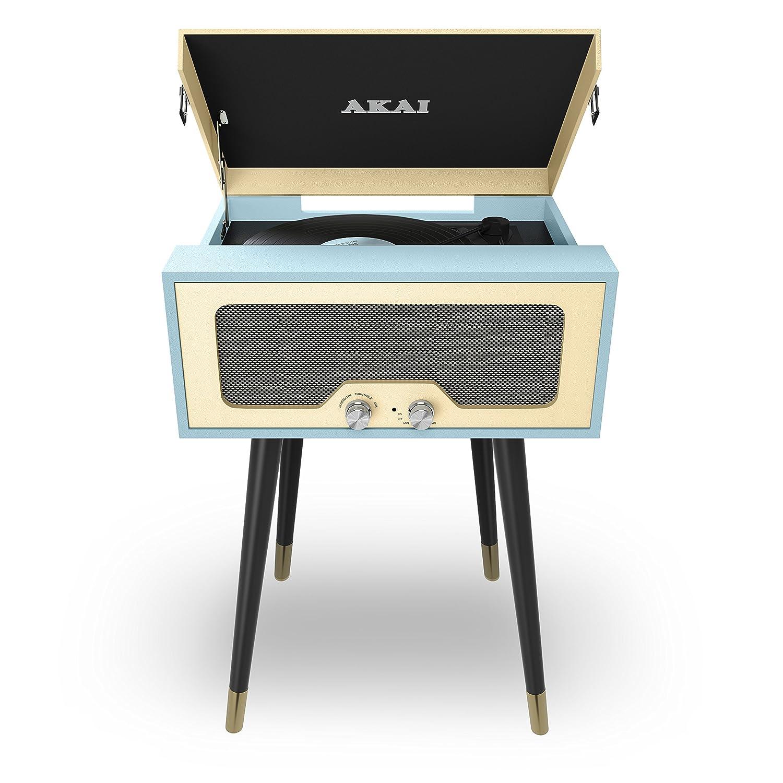 Akai Altavoz Bluetooth y Reproductor de Tocadiscos Azul/Crema ...