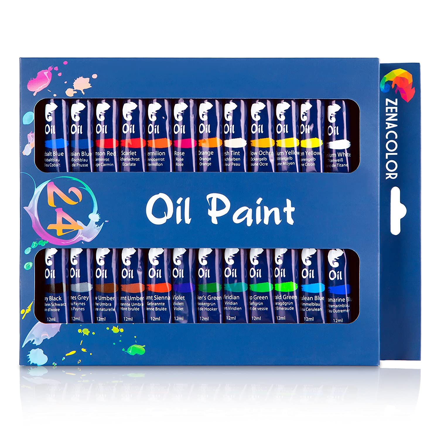 24-tube oil paint set by Zenacolor – pack of 24 x 12ml paint tubes - High-quality non-toxic paint - 24 unique and different colors - Perfect for beginners and professionals alike - Dense and rich pigments – Can easily be used on canvas, clay, wallpapers o