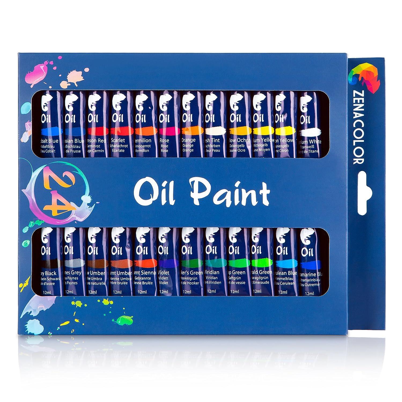 Set de 24 tubos de pintura al ó leo Zenacolor - Pack de 24 x 12mL - Pinturas al ó leo de calidad superior, no tó xicas - 24 colores ú nicos y diferentes - Ideal para principiantes o profesionales - Pigmentos abundantes - Sencill