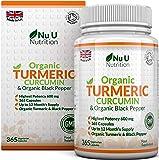 Nu U Nutrition  Organic Turmeric Curcumin 600mg with Organic Black Pepper, 365 Capsules
