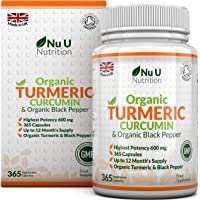 Nu U Nutrition  Organic Turmeric Curcumin 600mg with Organic Black Pepper, 365 Capsules