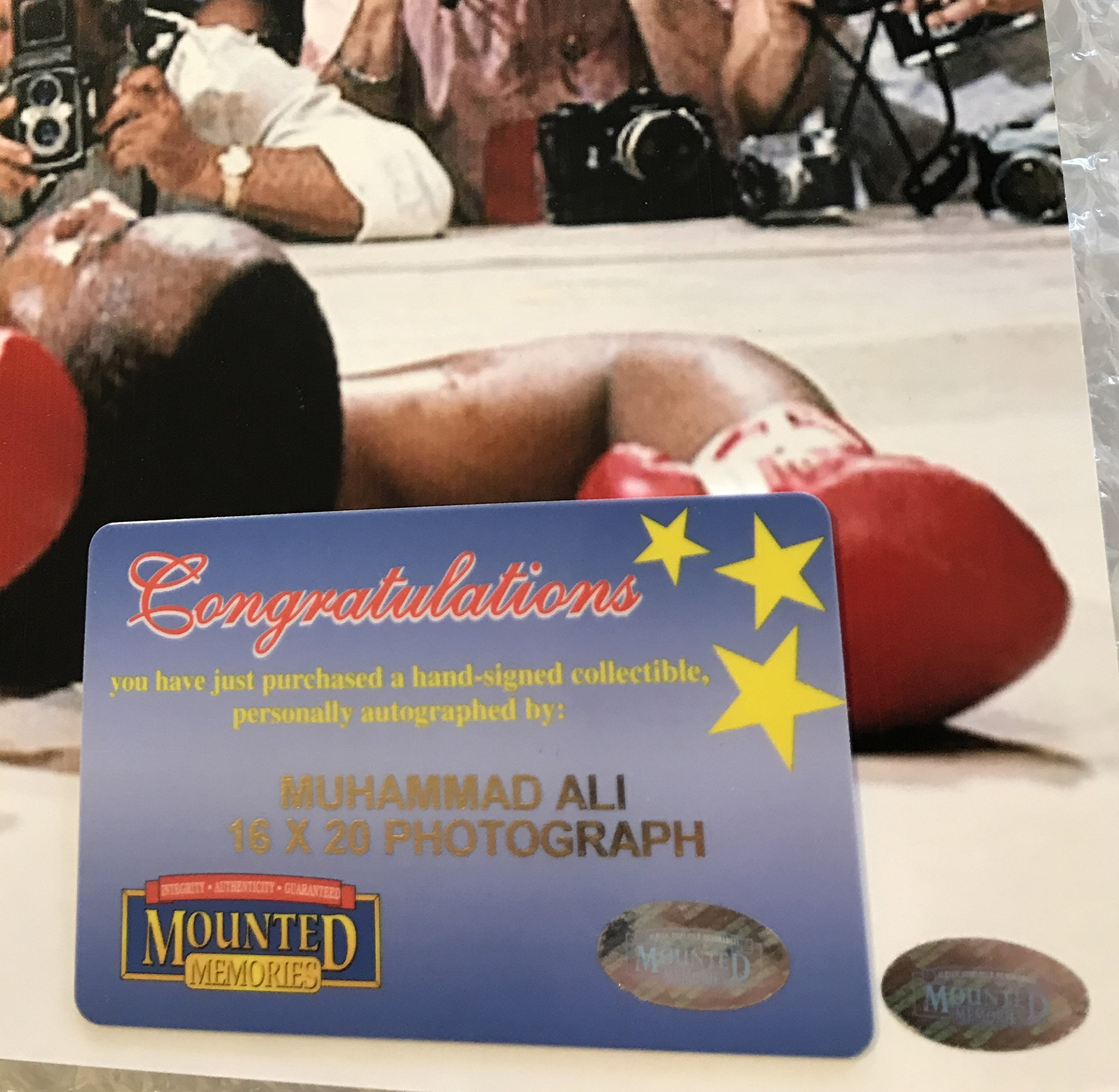 """Muhammed Ali over Sonny Liston Autographed 16""""x20"""" Photo Mounted Memories Certified"""