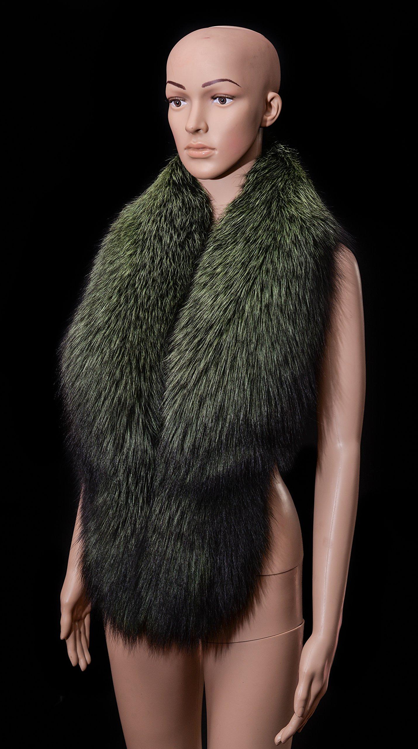 Royal Saga Furs Moss Green Silver Real Fox Fur Winter Shoulder Wrap Scarf Boa Stole