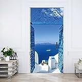 murimage Papel Pintado Puerta Santorini 86 x 200 cm Mar Puerta Blanco Azul Nave Turquesa Grecia Foto Mural Incluyendo Pegamento livingdecoration