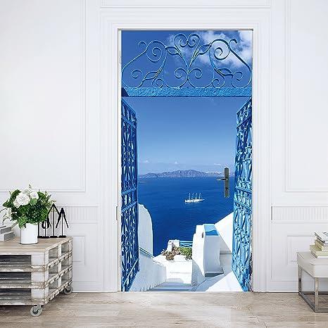 Carta Da Parati Per Porte.Carta Da Parati Porta Santorini 86 X 200 Cm Mare Cancello Bianco Blu