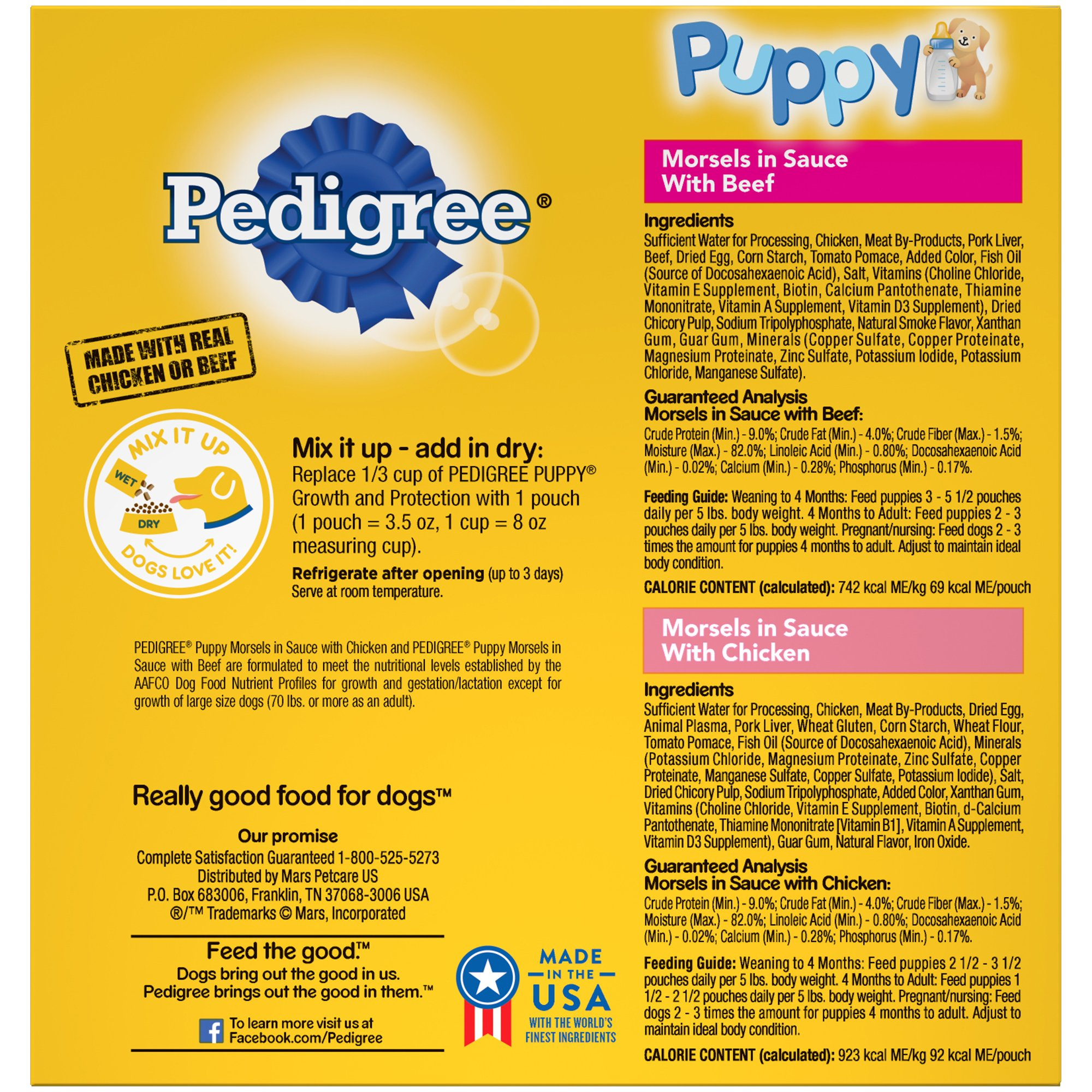 Pedigree CHOICE CUTS Puppy Morsels in Sauce Wet Dog Food Variety Pack Chicken Beef, (16) 3.5 oz. Pouches by Pedigree (Image #2)