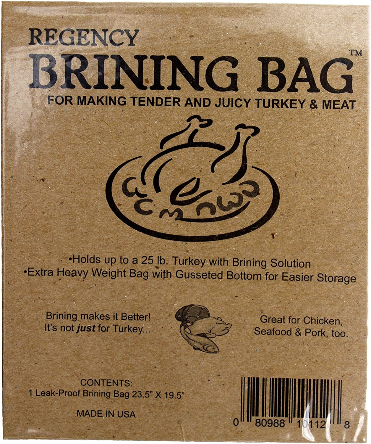 Regency Wraps Regency Brining Making Juicy Turkey, Extra Large Bag with Gussetted Bottom & Double Seal, 1, Clear