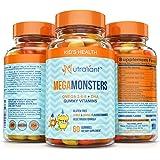 BEST Omega 3 Gummies For Kids MEGAMONSTERS Gummy Vitamins - Vitamin C + Omega 3-6-9 + DHA Algae + Coconut & Chia Seed Oil - Boosts Brain Function, Heart & Vision - Gluten Free, Vegetarian Multivitamin