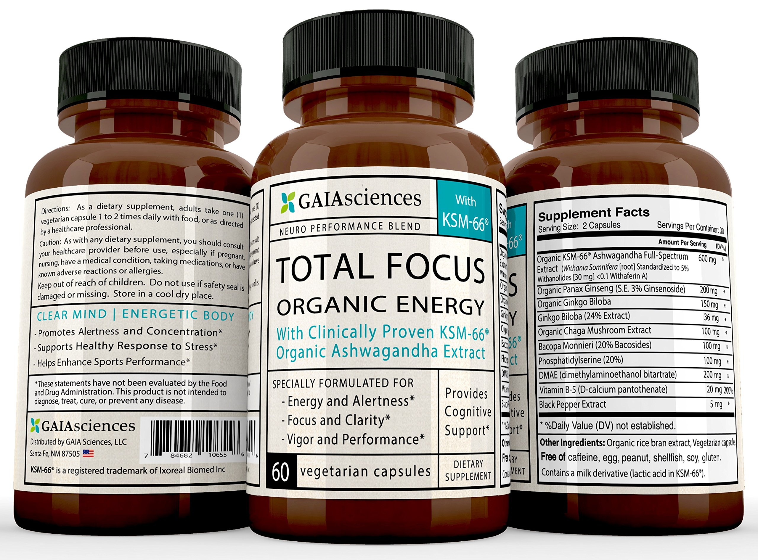 GAIA Sciences Total Focus Formula for Added Attention Boost Mood Increase Brain Memory Mental Cognitive Enhancer Anti Stress Anxiety Depression Panic Ashwagandha Ginkgo Ginseng Nerve Tonic Energizer by GAIA Sciences