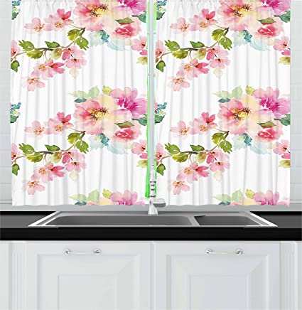 Incroyable Ambesonne Floral Kitchen Curtains, Watercolor Stylized Shabby Chic Nature  Petals In Soft Tones Artsy Picture
