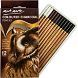 MONT MARTE Coloured Charcoal Pencils Set – 12pce, Drawing charcoal in colour - drawing pens, artist pens, ideal for impressive drawings