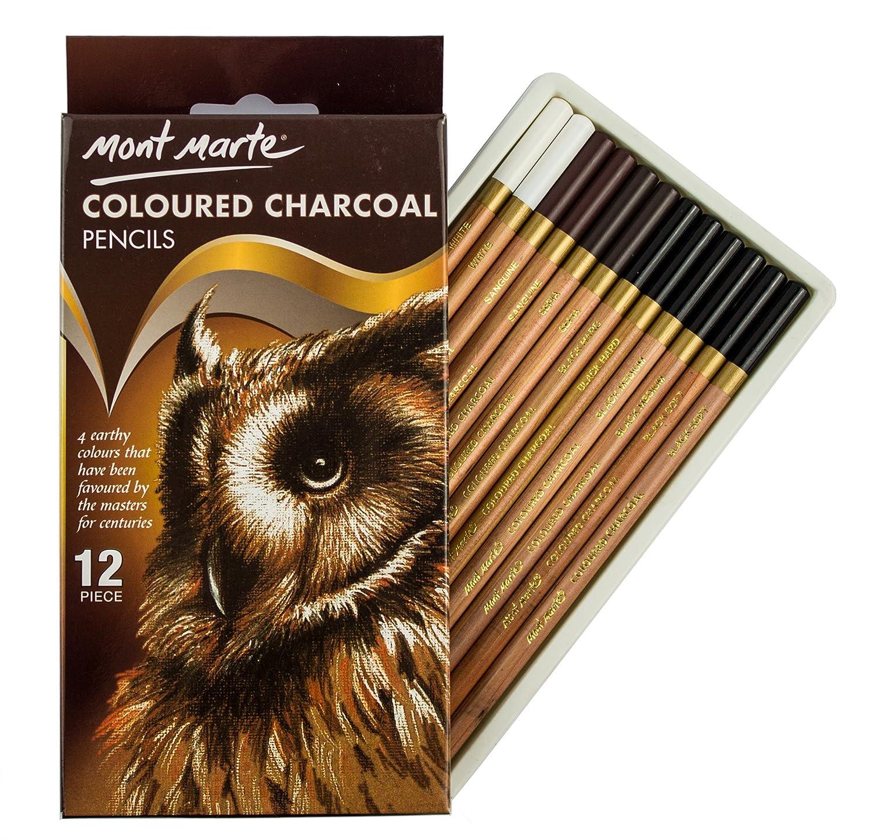 MONT MARTE Matite Carboncino Colorate - 12 pezzi - Matite per l'arte - Penne da disegno, Penne d'artista - Ideale per disegni di grande effetto - Perfetto per Principianti, Professionisti e Artisti