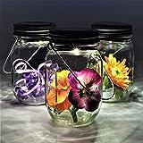 Gadgy ® farolillos decorativos | Lámpara Solar Mason Jar Tarro Cristal Set | 3 Piezes con 5 LED's Luz Blanca Cálida…