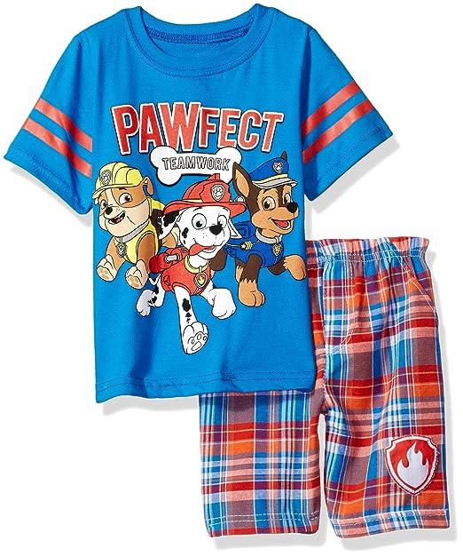 b509c08a887 Nickelodeon Conjunto de 2 Piezas de Playera y Pantalones Cortos a Cuadros  de la Patrulla Canina