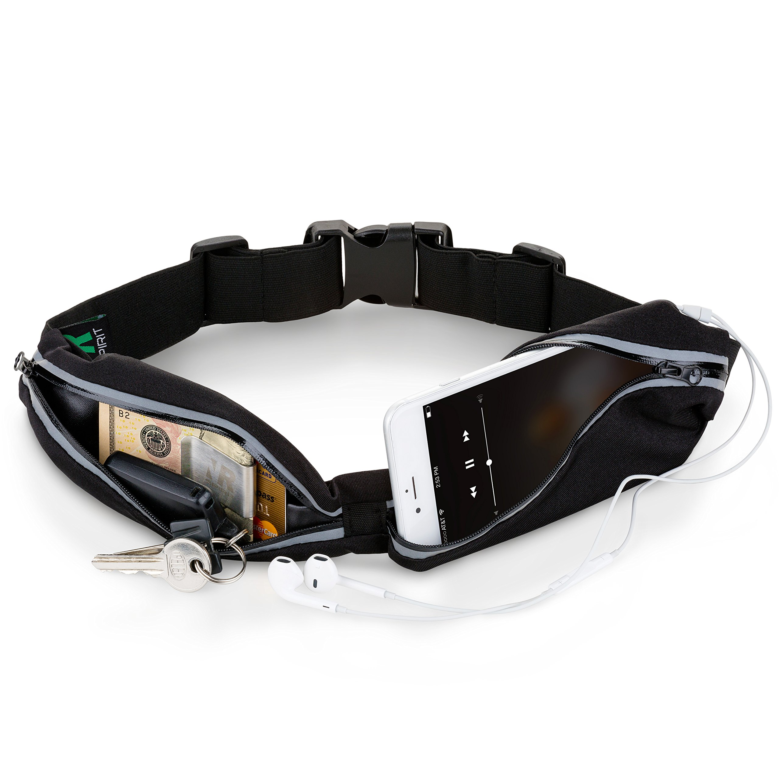Running Belt for Phone: iPhone & Samsung Galaxy Waterproof Adjustable Fanny Pack Money Belt Wallet. Reflective Running Waist Pack with Expandable Hands-Free Workout & Fitness Pockets. Bonus Money Clip