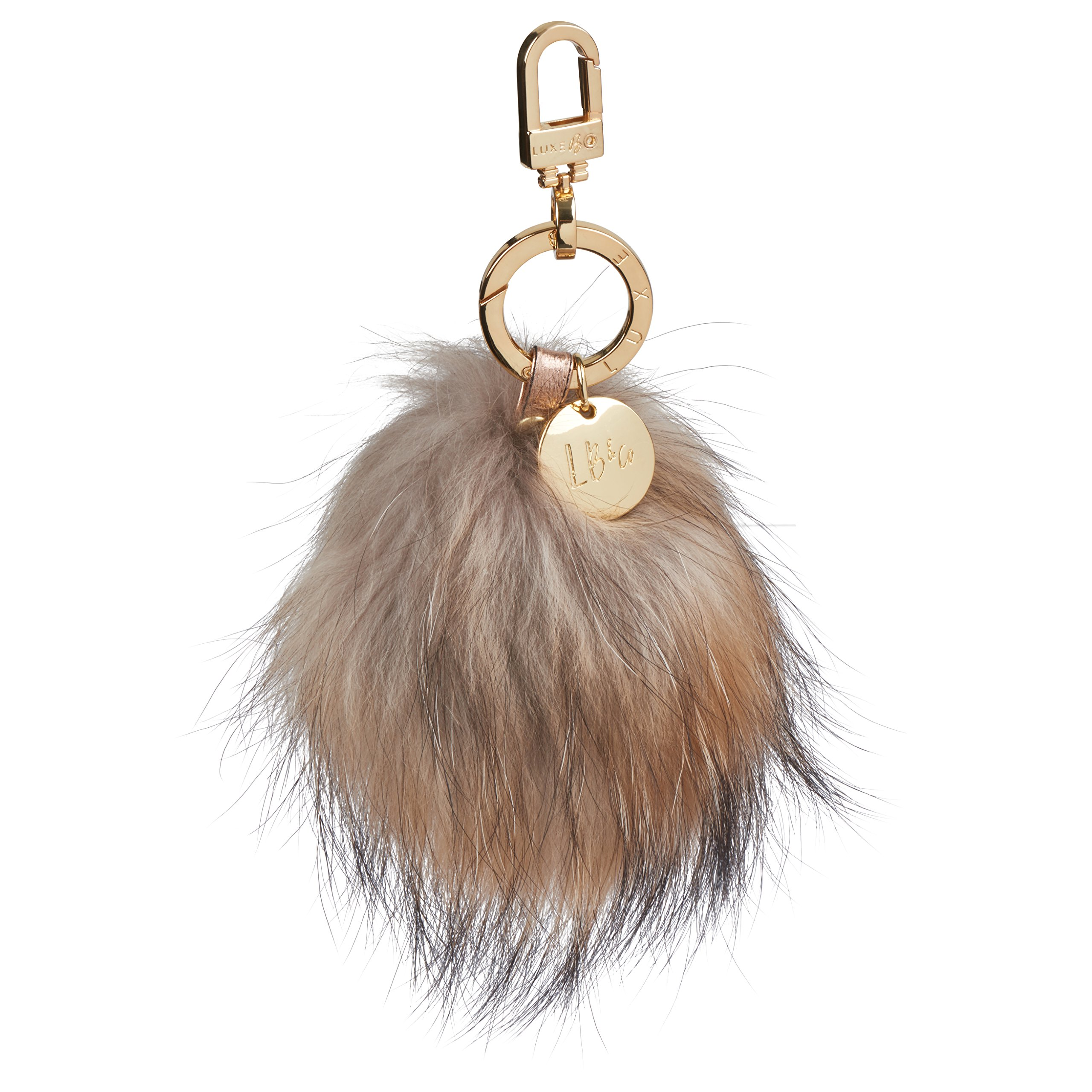 Luxe B Large fur pom pom keychain ball keychain Handbag Fur Bag Charm Fur Pom Pom (Racoon) cute keychain fluffy ball Pom Pom Keychain High-End Fashion Luxury Gold Keychain Diaper Bag Charm by LUXE B
